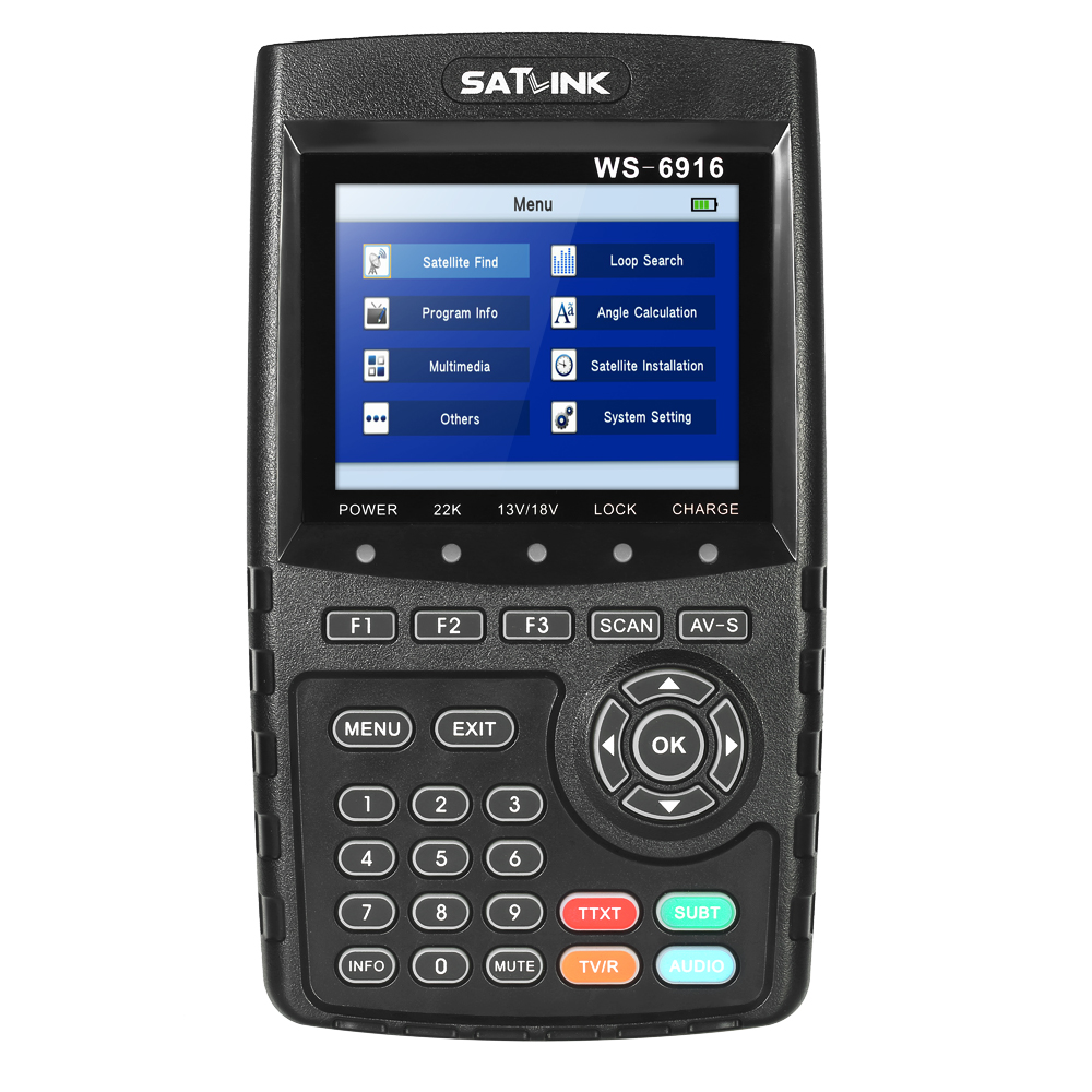 SATLINK WS-6916 Digital Satellite TV Receiver Digital Satellite Finder Meter HD Satellite Signal Finder + Carrying Pouch Strap satlink ws 6906 dvb s fta digital satellite signal meter satellite finder supports diseqc 1 0 1 2 qpsk