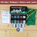 Reparto estupendo-200 Fichas de Poker-Blackjack Baccarat Moneda de cambio Paño de tabla-Persianas-Distribuidor de Cartas de Póquer-Con Regalos