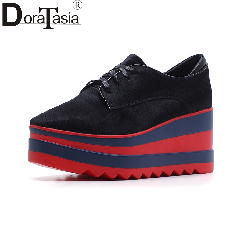 brand new horsehair genuine leather Shoes Woman lace up wedges platform Women leisurehigh quality flats