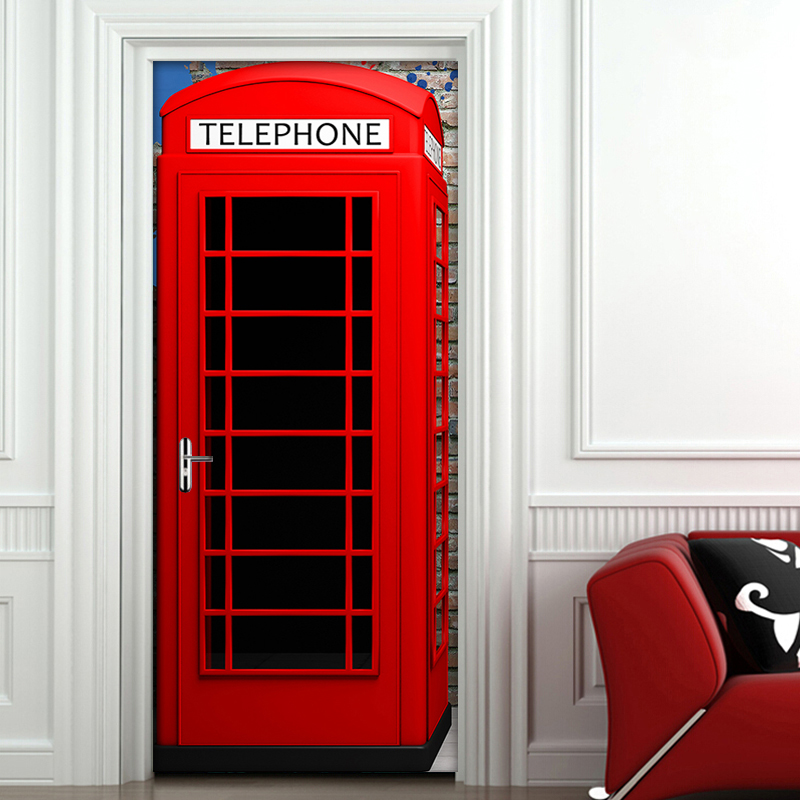 Door Sticker Mural Home Decoration Red Telephone Booth PVC Self-adhesive 3D Door Sticker Eco-Friendly Waterproof Vinyl Wallpaper