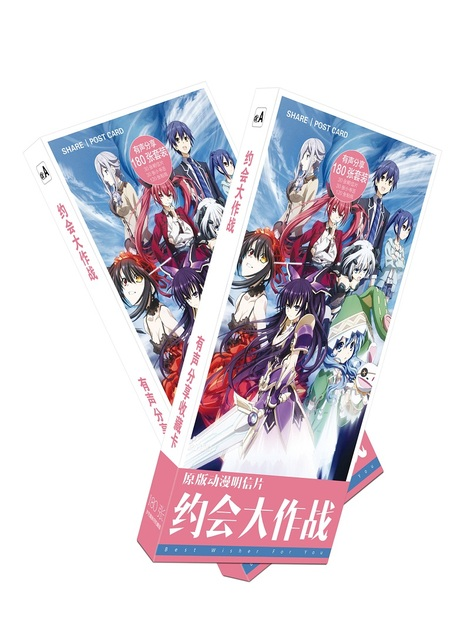 180pcs Set Japanese Anime DATE A LIVE Paper Postcard Greeting Card Message