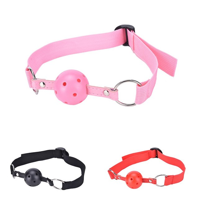 Sex Nylon Band Ball Gag Mouth Plug Necklace Open Mouth Gag Harness Oral Fixation Adult Restraint