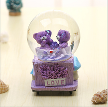 Lovely Cute Purple Bear Romantic Souvenir Gifts Music Box Home Decorative Crystal Music Box Creative Fashion Home Decorations