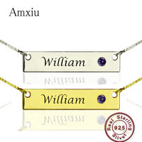 Amxiu Personalized Bar Nameplate Pendant Necklace Custom Name Necklace 925 Silver Jewelry for Women Men Gift Kids Dog ID Tags