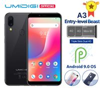 UMIDIGI A3 Android 9.0 Global Band 5.5incell HD+display 2GB+16GB smartphone Quad core 12MP+5MP Face Unlock Dual 4G Mobile phone