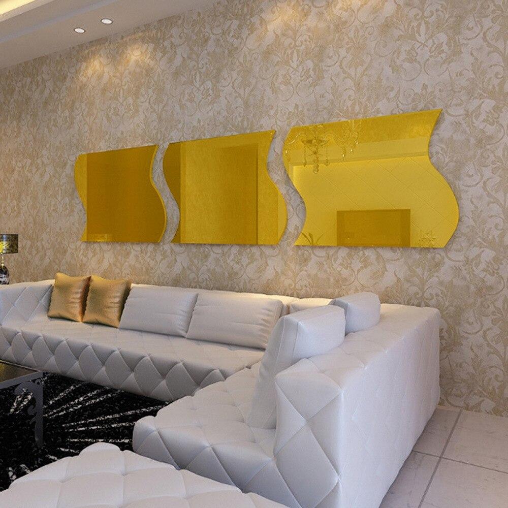 E WALL 020 Creative Undulation Shaped Acrylic Mirror Surface Wall ...