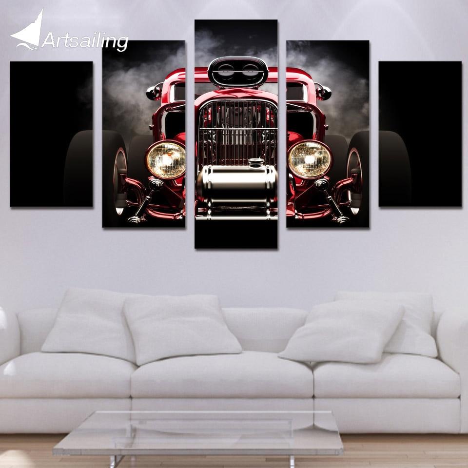 HD 5 drukāts audekla māksla ar karstu stieni sarkans automašīnas - Mājas dekors
