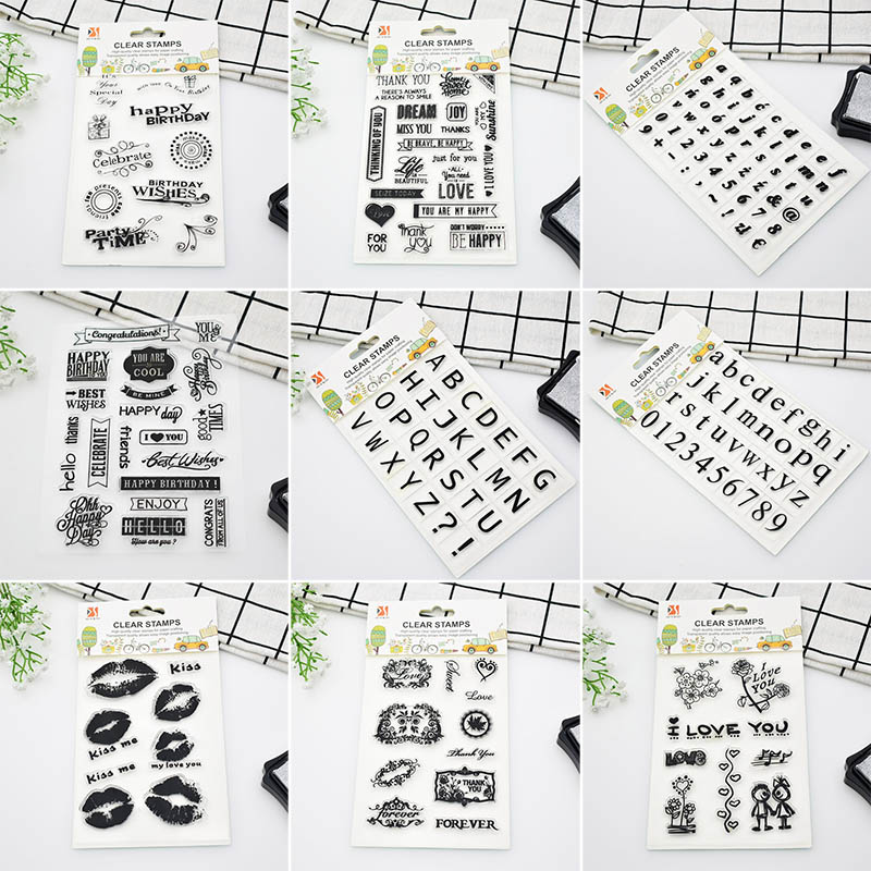 Alphabet Letters Thank You Happy Birthday Rubber Clear Stamp For Scrapbooking Card Marking Love Clear Stamps Free Shipping 6003 1 sheet happy birthday silicone clear stamps for party decoration rubber stamps for crafts and scrapbooking free shipping 68508