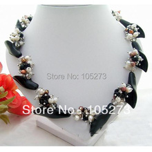 New Arriver Chirstmas Jewellery ! Charming Genuine Pearls & Onyx Flower & Crystal Beads Necklace AA 4-20MM 18inch Free Shipping new arriver real pearl jewellery 48inches 4 16mm gray rice freshwater pearls smoke crystal beads necklace free shipping