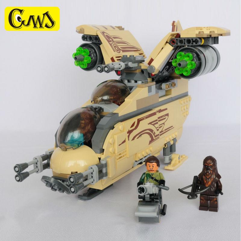 Совместимость Leeding Star Space Wars 10377 Wookiee Gunship Chewbacca строительные блоки просветить игрушки для детей подарок с кирпича