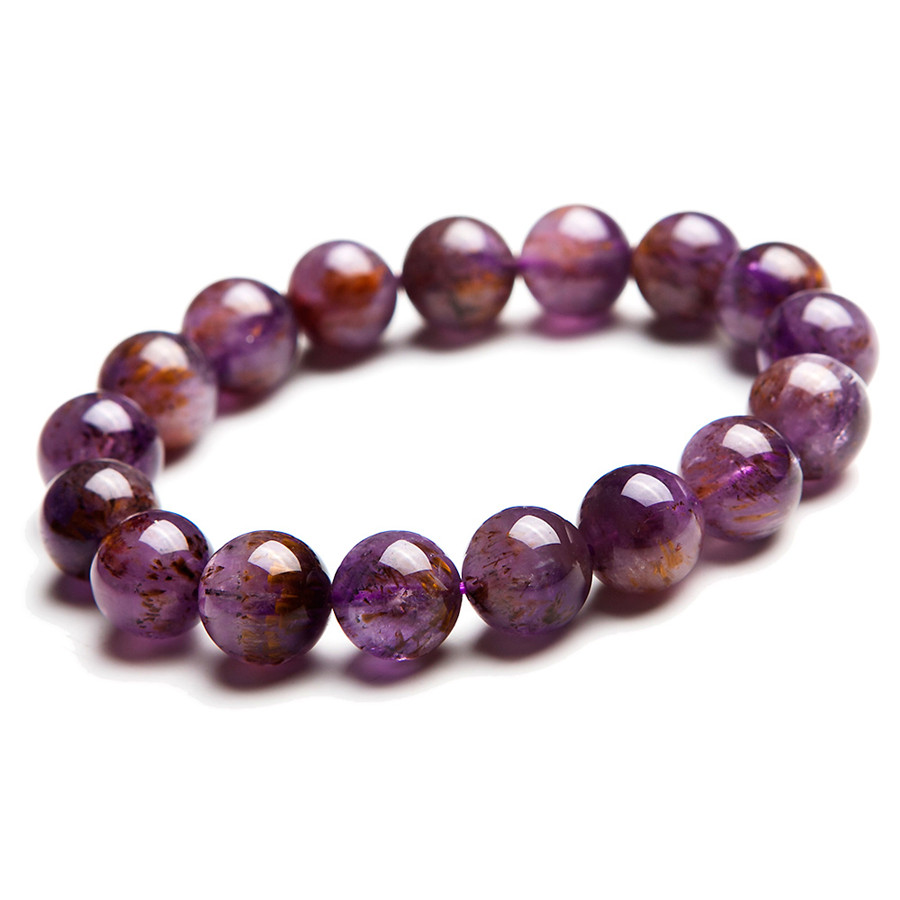 Фото 12mm Genuine Natural Purple Gold Titanium Cacoxenite Rutilated Quartz Crystal Transparent Round Beads Charm Stretch Bracelet. Купить в РФ