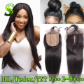 7A Brazilian Silk Base Closure With Baby Hair Free Middle 3 Part  Silk Base Closure Straight Virgin human Hair Silk Top Closures