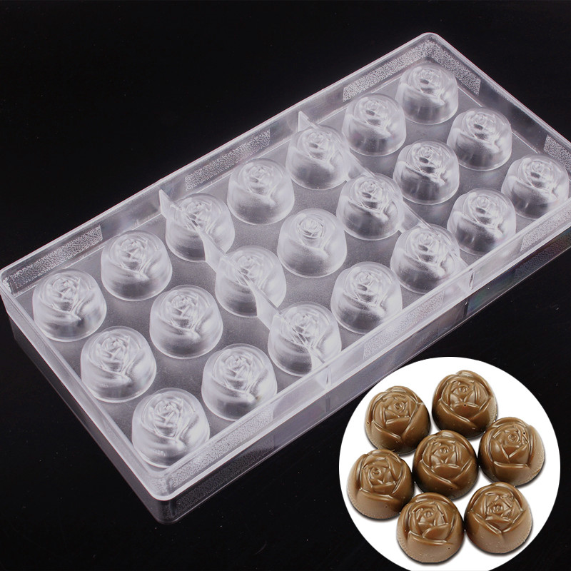 Molds Plastic Element DIY 21 Cavities 3D Rose Shaped Mould Chocolate Mold
