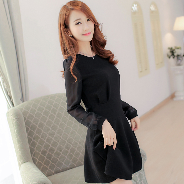 New Fashion 2016 Teenage Girls Black Party Dress with Chiffon Sleeve  Graceful Youth Children O-neck Solid Color Robe for Wedding f435e5521ec5