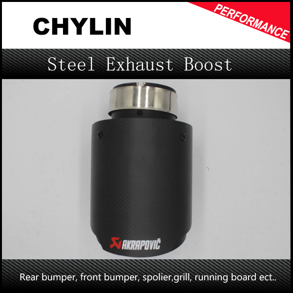H1Pair ID: 51mm OD: 89mm Car Racing Style Black Akrapovic Carbon Fiber Exhaust Tip For Any Cars