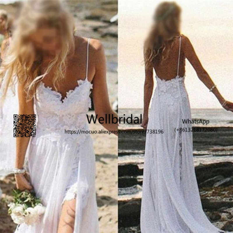 2017 Simple Wedding Dresses with 3D Appliques Lace Spaghetti traps Side Slit Formal Wedding Dresses Beach Wedding Gowns