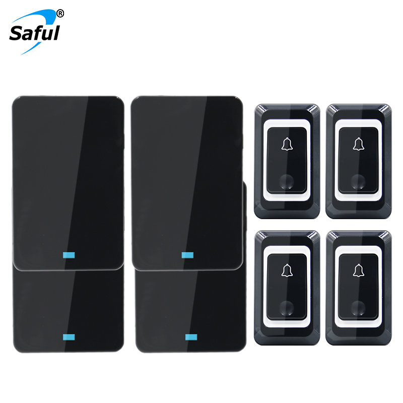 Saful wireless doorbell 4 waterproof buttons+4 EU plug-in receivers 110db 28 chimes for home door ring button sonnette sans filSaful wireless doorbell 4 waterproof buttons+4 EU plug-in receivers 110db 28 chimes for home door ring button sonnette sans fil