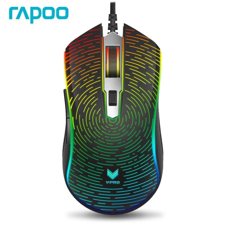 482758ef3d4 Rapoo V25S 7000 DPI 7 Programmable Buttons Optical Sensor P3320 RGB  Backlight Optical Gaming Mouse for