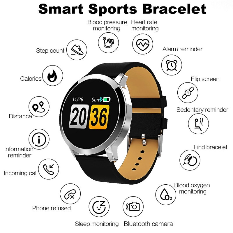 Image 5 - New Q8 OLED Bluetooth Smart Watch Stainless Steel Waterproof Wearable Device Smartwatch Wristwatch Men Women Fitness Tracker-in Smart Watches from Consumer Electronics