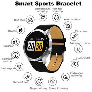 Image 5 - Nouveau Q8 OLED Bluetooth montre intelligente en acier inoxydable étanche appareil portable Smartwatch montre bracelet hommes femmes Fitness Tracker