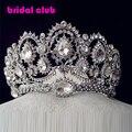 Caliente los diseños europeos del pavo real cristal Tiara nupcial del pelo accesorios de la boda quinceañera Rhinestone Tiaras coronas Pageant