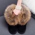 2016 Luxo Inverno Mulheres Natural Fox Fur Botas de Neve Feminino Botas de Couro genuíno Verdadeira Pele De Guaxinim Pele Grossa Plana Tornozelo botas
