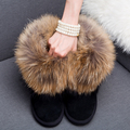 2016 Luxury Winter Women Natural Fox Fur Snow Boots Female Genuine Leather Boots Thick Fur Flat  Real Raccoon Fur Ankle Boots