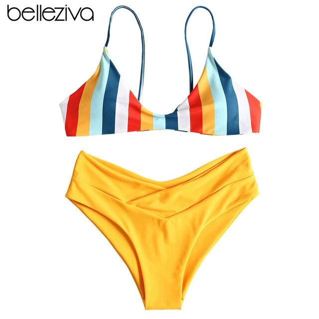 Belleziva Pinggang Tinggi Pakaian Renang 2019 Sexy Bikini Wanita Baju Renang Pelangi Kaki Tinggi Musim Panas Pantai Baju Renang Push Up Biquinis