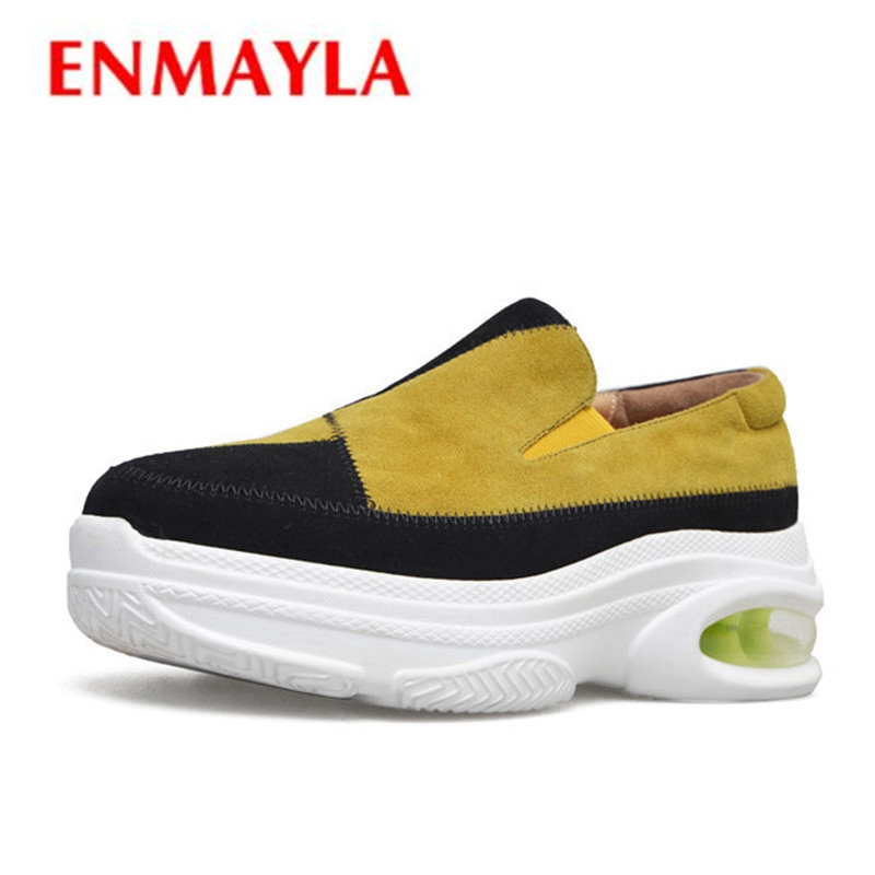 ENMAYLA New Women Pumps Med Heels Wedges Spring Round Toe Slip-on Plus Size 33-40 Causal Patchwork Suede Footwear Shoes CR760