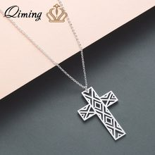 QIMING Cross Necklace Male Female Stainless Steel Jewelry Women Silver Jesus Christ The Son of God Men Necklaces Pendants Gift(Hong Kong,China)