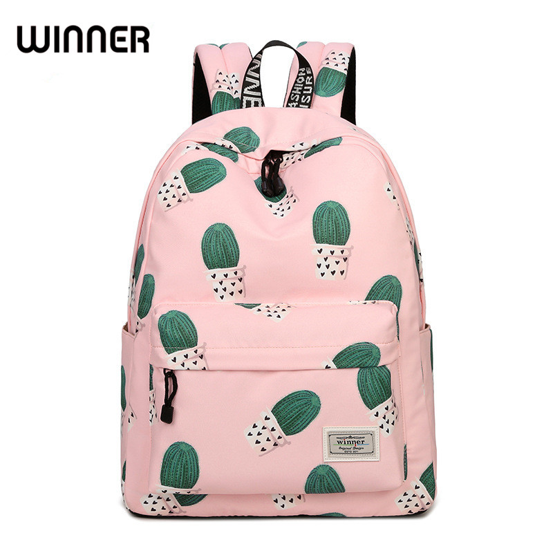 Waterproof Fairy Ball Plant Printing Backpack Women Cactus Bookbag Cute School Bag for Girls Teenage Kawaii Pink Knapsack