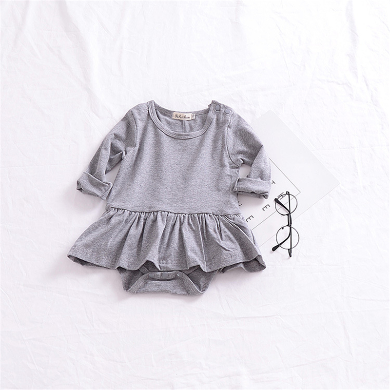 2018 Infant Bodysuit Gray Baby Girl Clothes Baby Girl Bodysuits Tutu Sunsuits For Infant Girls Newborn Onesie Tiny Cottons