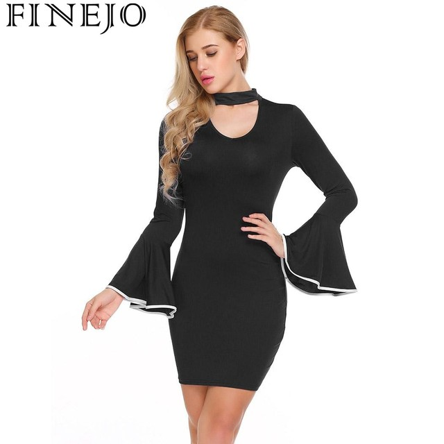 Finejo Bodycon Dress Autumn Winter Party Dresses Women 2017 Mock Neck Flare Long Sleeve Keyhole Casual