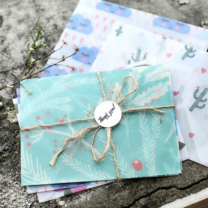 3pcs/lot Girl's Heart Sulfuric Acid Paper Writing Paper Envelope School Supplies Envelope For Wedding Letter Invitation
