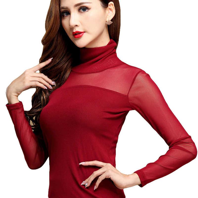 3a46f93583 Las mujeres Mash blusa camisa manga larga elegante camisa de cuello alto  Mujer elástica blusa encaje