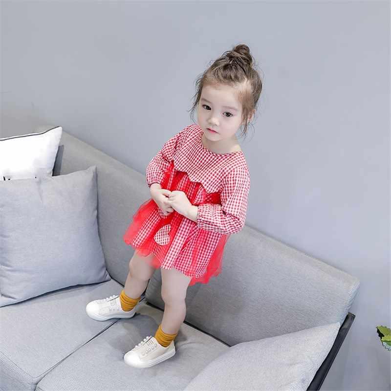 Malayu 女の赤ちゃんの人形シャツ春と秋の新女性の服長袖チェック柄メッシュステッチシャツスカート