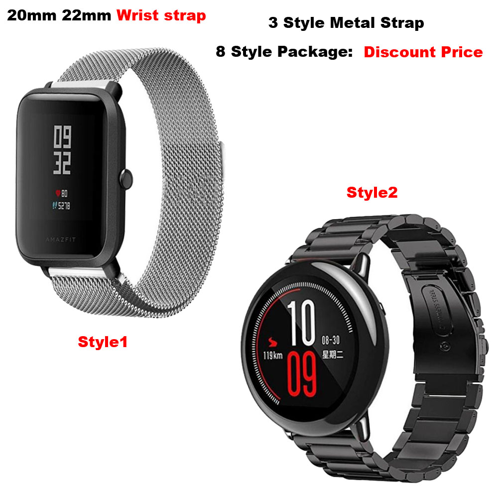 Metal Correa Amazfit Bip Pace Strap Accesorio for Xiaomi Huami Amazfit Stratos 2 Watchband Samsung Gear S3 S4 Watch Wrist Bands