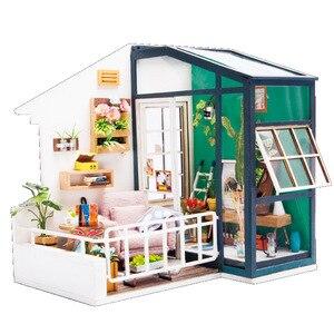 DIY Poppenhuis Houten Poppenhuizen Miniatuur poppenhuis Meubels Kit Speelgoed voor kinderen Kerstcadeau Balkon Dagdromen DGM05(China)