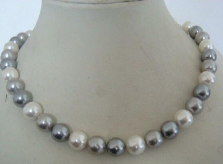 Free shipping shipping stunning AAA+9 10mm tahitian white grey multi color pearl necklace 17inch