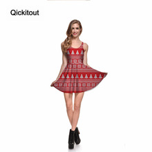 Qickitout Dress Merry Christmas Hot Product Women's Snow Simple Red Festival Tree Dresses Digital Print SKATER DRESS Vestidos