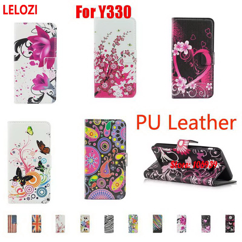 LELOZI Painted PU Leather Wallet Women Case Etui Capa For Huawei Ascend Y330 Y 330 Heart Flower Vintage Art Fashion Abstract