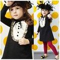 Primavera outono ouro borda menina roupas princesa temperamento elegante de mangas compridas casual meninas A linha mini vestido crianças roupas