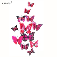 Keythemelife 12pcs/lot Butterfly Wall Stickers Double Layer 3D Butterflies colorful bedroom living room Home Fridage Decor CF