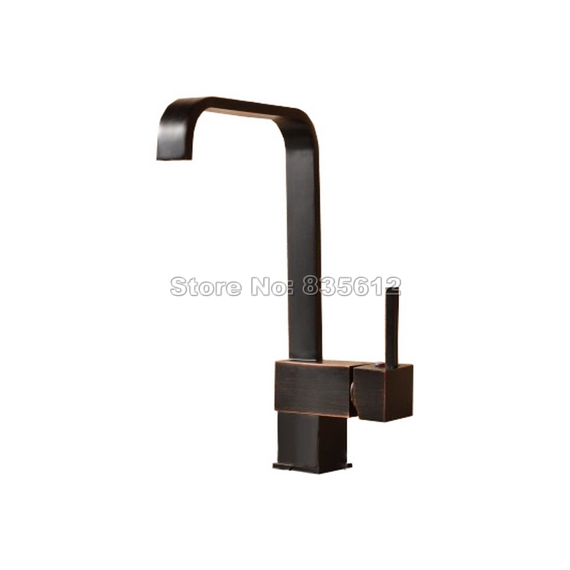 Black Oil Rubbed Bronze Kitchen Sink Basin Faucet Single Handle Single Hole Deck Mounted Vessel Sink Mixer Taps Crane Whg024