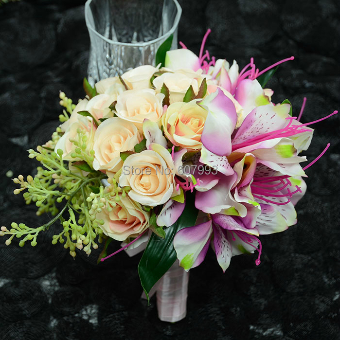 Big size bridal bouquet natural mixed lilies rose wedding party big size bridal bouquet natural mixed lilies rose wedding party bridemaid bouquet artificial silk flowers free shipping in artificial dried flowers mightylinksfo