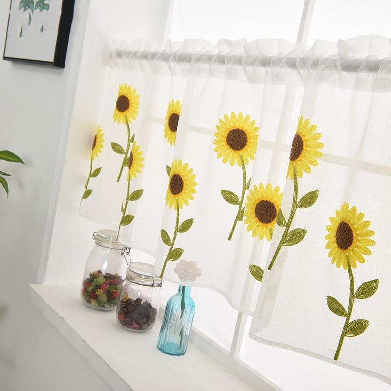 Bay Window Sunflower Embroidery Half Curtain Home Decoration Door Window Simple Romantic Curtain Partition Kitchen Drape DL186#3