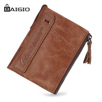 Baigio Wallet Men Vintage Style Horse Leather Wallet 2017 New High Quality Genuine Short Wallet Purse