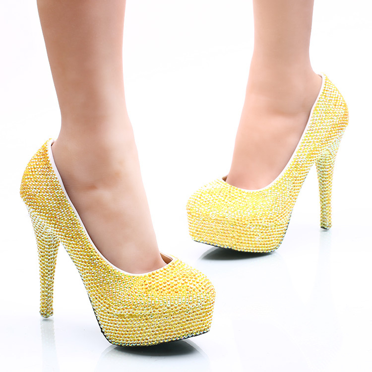 Dazzling Lemon Yellow Crystal Wedding Shoes Round Toe Super High Heels Women Pumps for Bride Nightclube Evening Dress Banquet-in Women's Pumps from Shoes    2