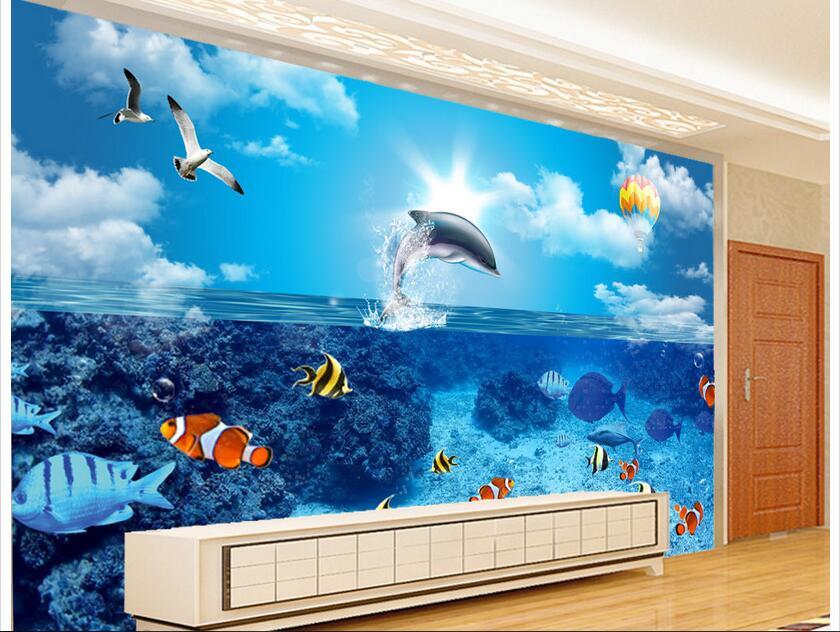 Custom 3 D Photo Wallpaper Wall Murals 3d Wallpaper Beach: Custom Photo 3d Wallpaper Non Woven Mural Wall Sticker