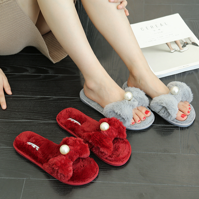 High Quality Women Slippers Lovely bowknot Prints Solid Flat Indoor Shoes Winter Plush Warm Home Slippers Size 36 41 in Slippers from Shoes